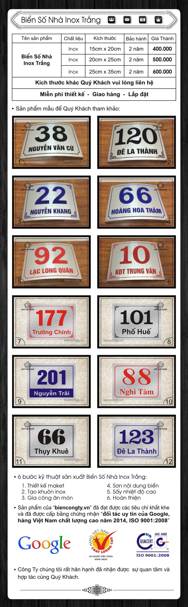 Số Nhà Inox Trắng