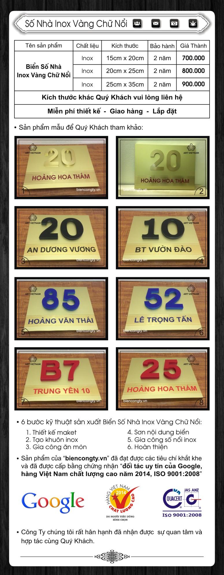 Số Nhà Inox Vàng Chữ Nổi